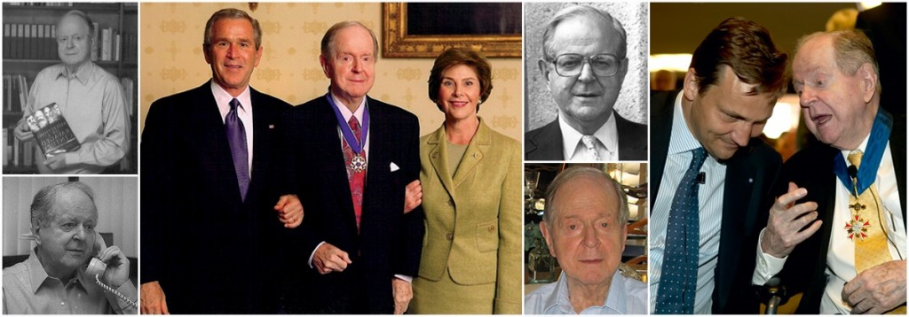 Collage of images of historian Robert Conquest