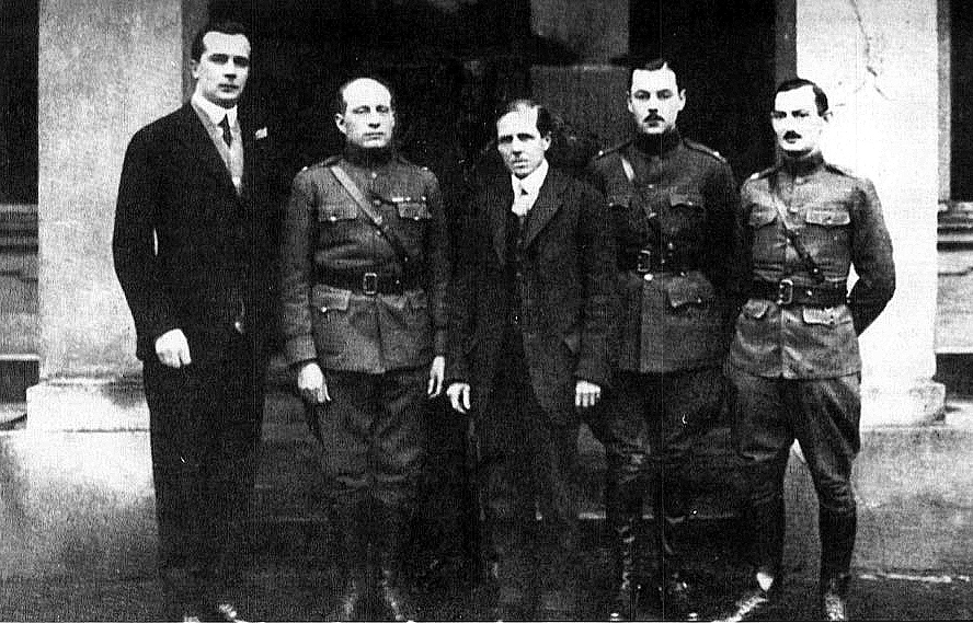 The American Mission to Poland, January 1919. Left to right: Alexander Znamięcki, Colonel William R. Grove, Vernon Kellogg, Lt. Chauncey McCormick, Captain Leo M. Czaja