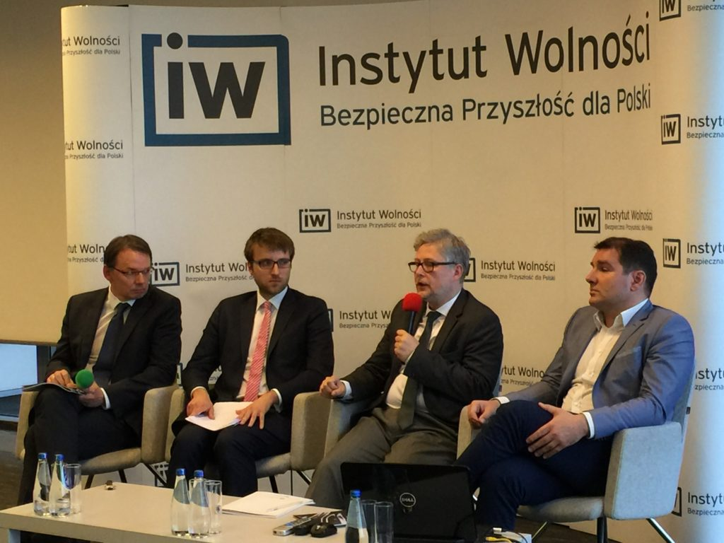 Scholars of the Freedom Institute in Warsaw, Poland presenting their report on Polish and British visions for the future of the EU