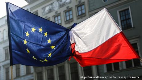 Polish and EU flags connected