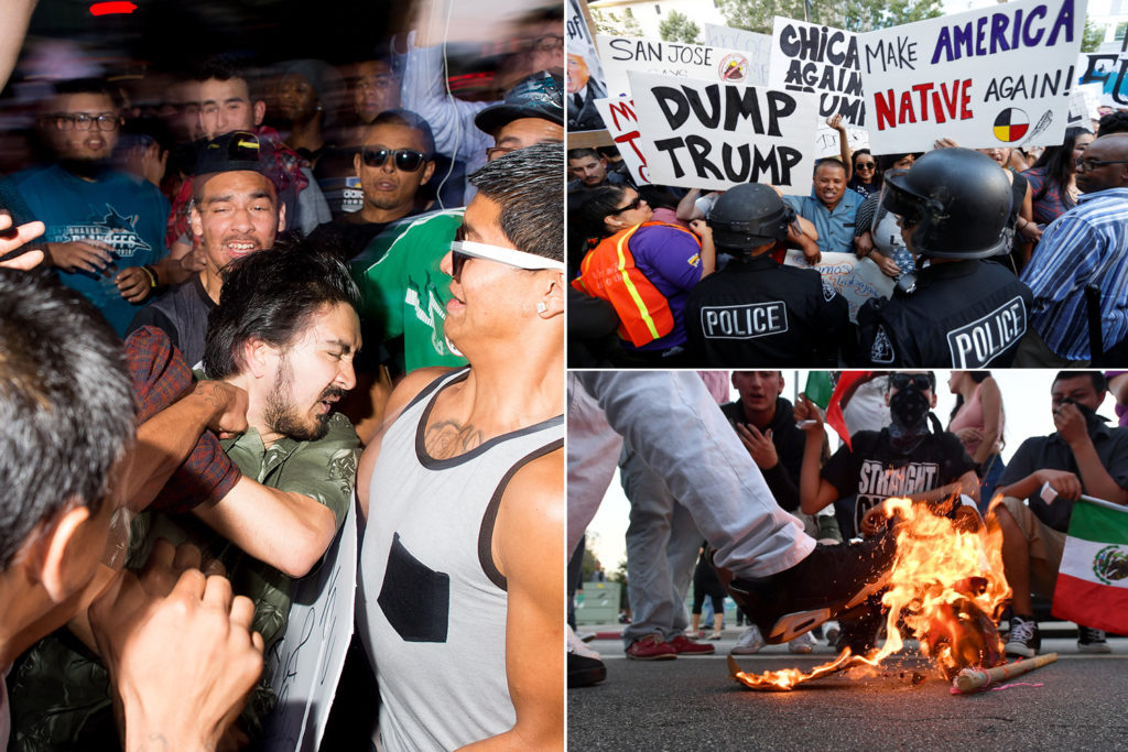 collage of photos of violent anti-Trump acts in San Jose, California, punch being thrown, anti-American signs and Trump hat being burned
