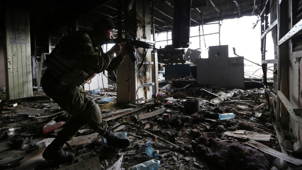 Ukrainian soldier in ruins of Donetsk Airport