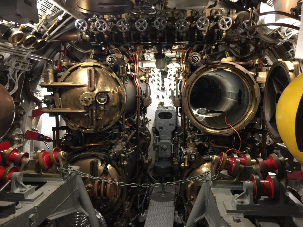 USS Cod submarine forward torpedo room