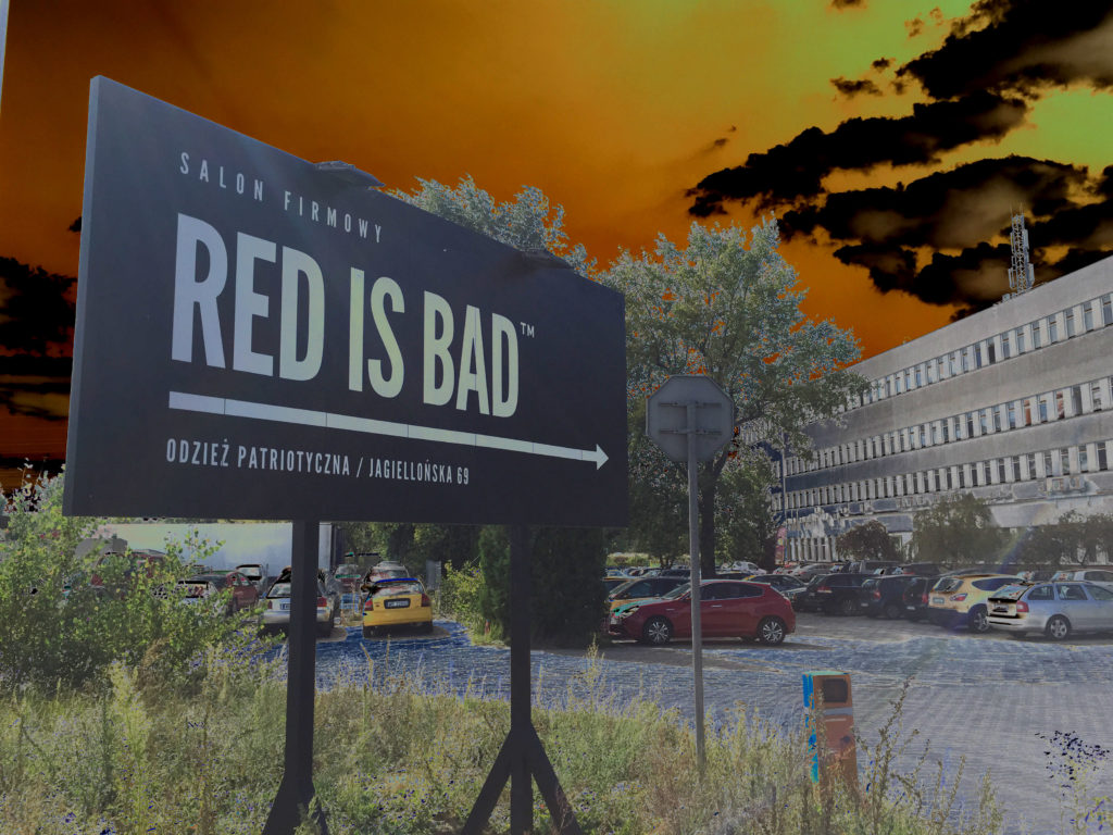 Red Is Bad company store sign