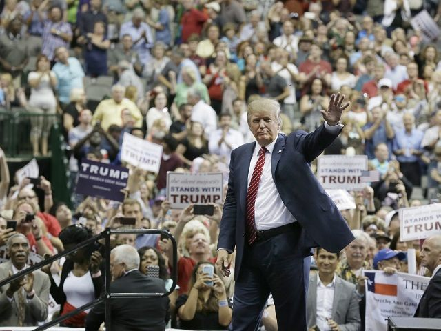 Donal Trump at a campaign rally