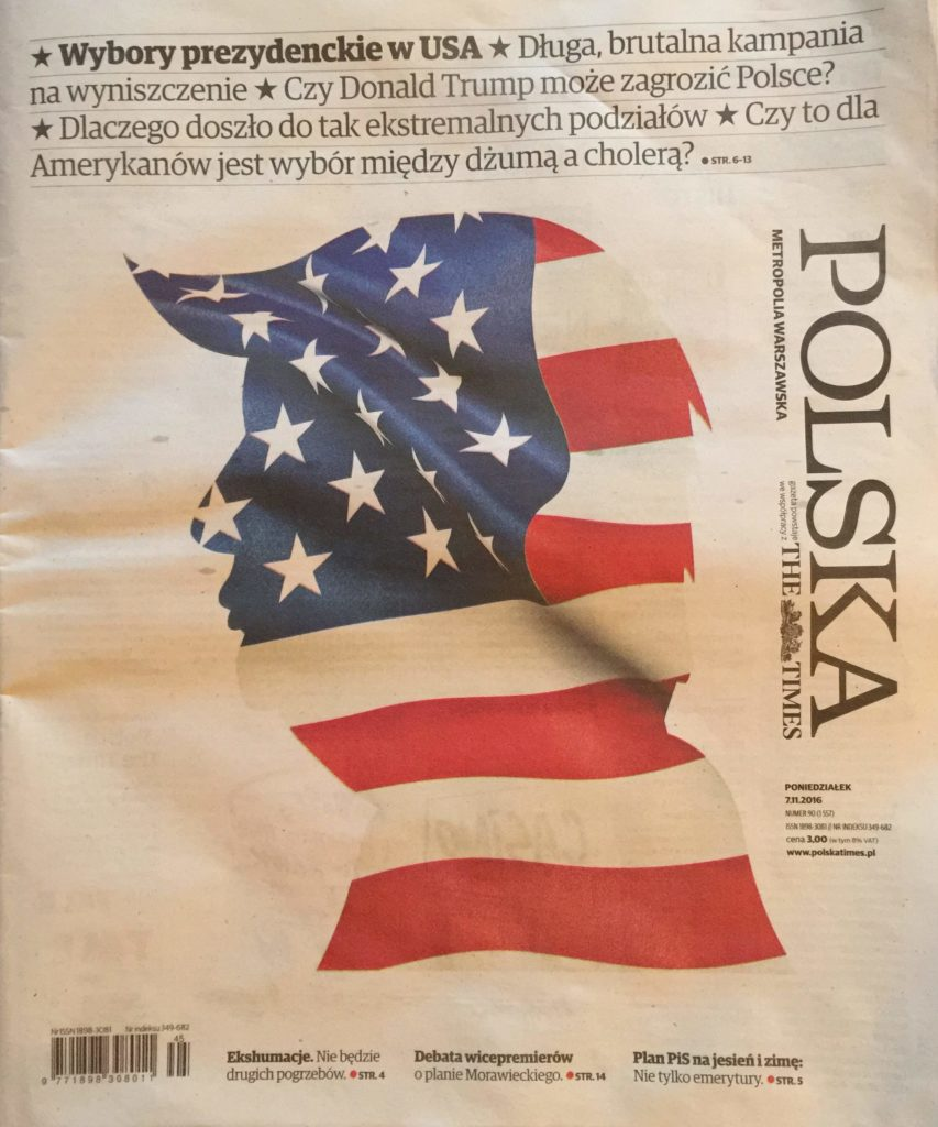 Polska The Times newspaper cover with Donald Trump profile art