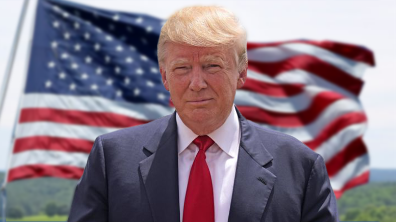 Donald Trump with American flag background