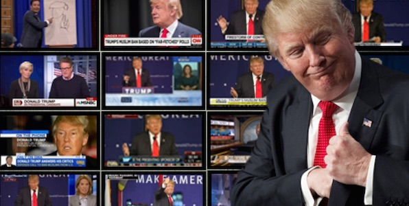 Donald Trump with TV media appearances background