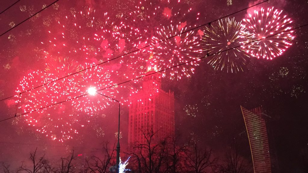 Fireworks in front of the Palace of Culture in Warsaw January 1, 2017