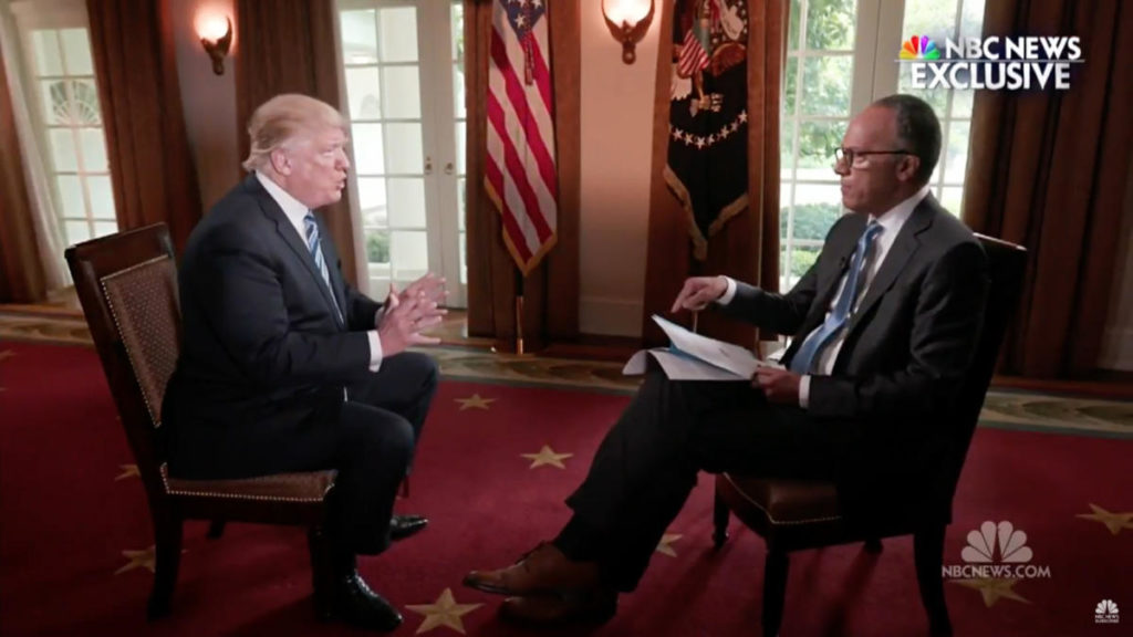 President Trump interviewed by Lester Holt on NBC