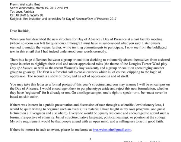 Bret Weinstein Evergreen State College letter