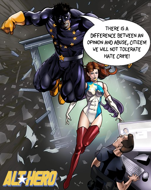 Fan art of Captain Europa and Dynamique from the Alt Hero comics project