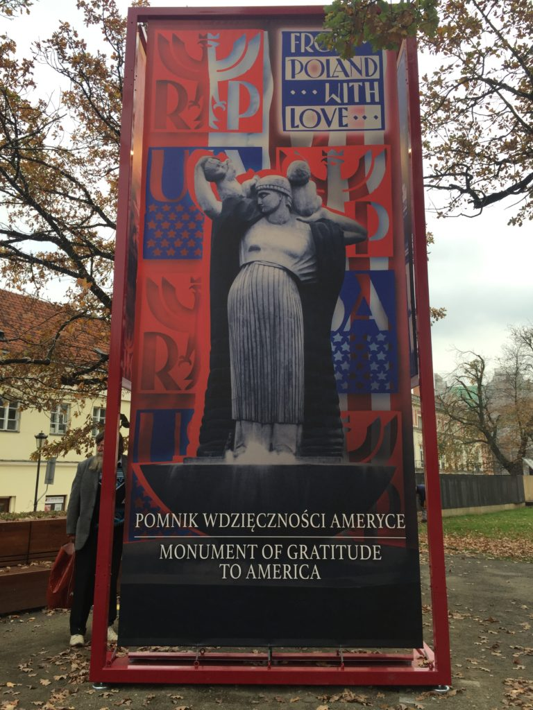 Display Panel on Herbert Hoover Square with Image of the Gratitude to America Monument part of the From Poland With Love exhibit in Warsaw, Poland