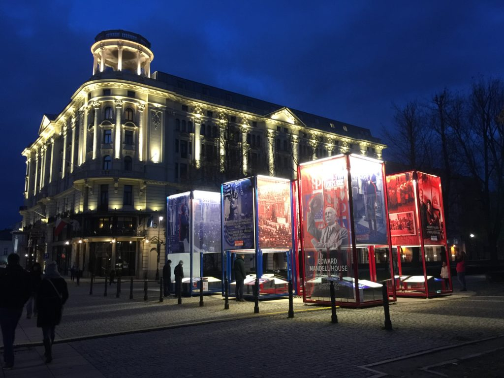 From Poland With Love exhibit panels in front of the Hotel Bristol in Warsaw, Poland